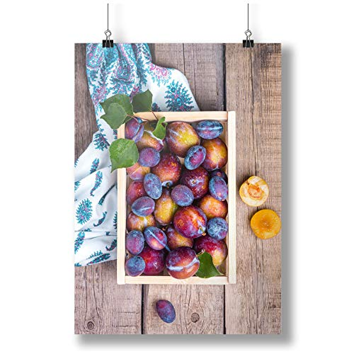 INNOGLEN Small Wooden Crate with Plums A0 A1 A2 A3 A4 Satin Foto Poster a3543h