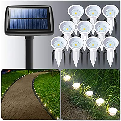 DenicMic Solar Ground Path Lights - 10 LED Solar String Pathway Lights Outdoor Waterproof,Solar Powered Landscape Inground Lights for Yard Patio Garden Lawn Walkway Driveway, Bright 15 Lumens- White