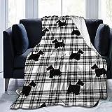 ZZ44KK Quilt Ultra-Soft Micro Fleece Blanket Scottish Terrier Plaid...