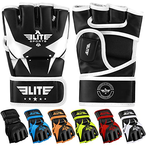 Elite Sports MMA UFC Gloves for Men, Women, and Kids, Best Mixed Martial Arts Sparring Training Grappling Fighting Gloves (White/Black, Large/X-Large)