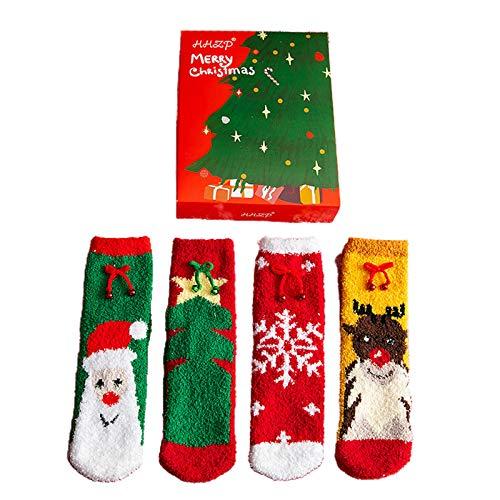 MYBOON 4 Pares de Calcetines borrosos de Navidad para Mujer con diseño de árbol de Santa de Dibujos Animados, calcetería cálida, Regalo, lencería Sexy, Color2