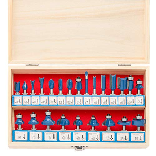Hiltex 10108 Tungsten Carbide Router Bit Set, 24 Piece | 1/4-Inch Shank, Blue