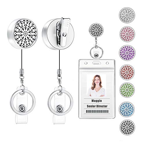 USANGERS Retractable Badge Holder with Alligator Clip Swivels Essential Oils Diffuser Badge Reel Clip Stainless Steel Aromatherapy Heavy Duty Name Office Badge Holder for Her Women Nurse Teacher