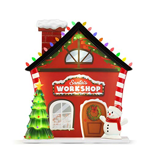 Mr. Christmas Blow Mold Village - Santa Workshop Christmas Décor, 3-feet, Red