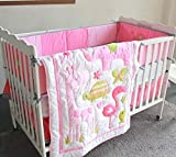 Baby Bucket 7PCS Embroidered Cotton Baby Cot Bedding Set Cartoon Crib Bedding (Pink)