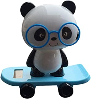 Solar Powered Dancing Figures, Transer Solar Powered Dancing Panda Swinging Animated Bobble Dancer Toy Car Decor (Blue)