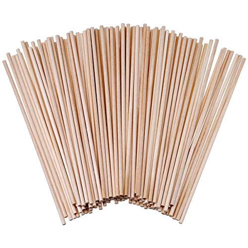 120 Stück Bambus-Holzdübelstangen - holzstäbchen zum basteln Naturholzstangen für das Handwerk 15cm x 3mm