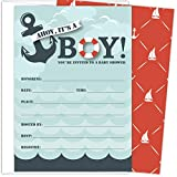 Koko Paper Co It's a Boy Nautical Baby Shower Invitations | 25 Fill-in Invitations and Envelopes | Printed on Heavy Card Stock.