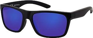 La Optica B.L.M. - La Optica Gafas de Sol LO8 UV400 Deportivas da Hombre y Mujer, Mate Negro (Lentes: azzul espejada polarizzato)