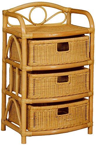 korb.outlet Regal aus echtem Rattan 3 Schübe Rattan-Kommode Badregal mit Schubladen aus Naturmaterial Rattanschrank Natur (Honig)
