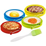 *PREMIUM HIGH QUALITY: ▲100% Food grade, ▲BPA Free. ▲Silicone is F D A certificated, Safe, healthy & Eco Friendly. ▲High-grade stainless steel handles. 4pcs with 4 exciting color. *EASY TO USE: You can quickly make fried eggs or pancakes with perfect...