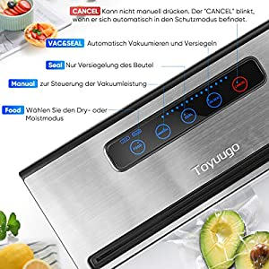 Toyuugo Vakuumiergerät für Trockene und Feuchte Lebensmittel Vakuumierer Folienschweißgerät für Sous Vide mit Eingebauter Cutter Inkl. einer Rolle 28 * 300cm Folienbeutel [2019 Aktualisiert]