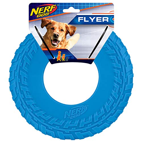 Nerf Dog Rubber Tire Flyer Dog Toy, Frisbee, Lightweight, Durable, Floats in Water, Great for Beach and Pool, 10 Inch Diameter, For Medium/Large Breeds, Single Unit, Blue