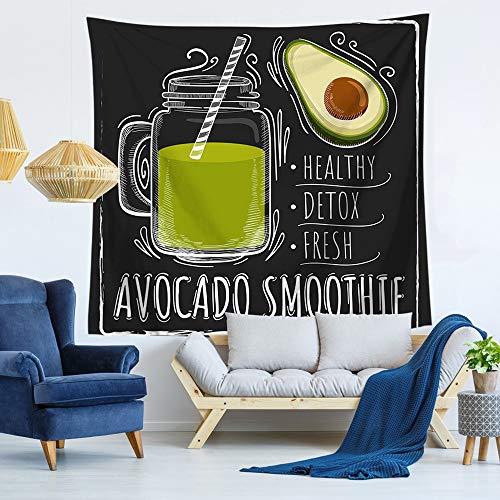 Wandtapijt, groot jaargang, hippie, gothic, psychedelic, trippy, etnisch groen, avocado, sap, cartoon fruit, digitale print stof, moderne abstracte kunst thuis, wanddecoratie voor woonkamer 150x130 cm