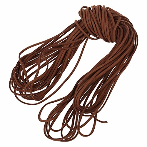 SODIAL(R) 16.65-18.655m 2mm Cuir brun bracelet en cuir cordon Bracelet en cuir plat de bricolage