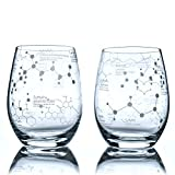 Greenline Goods Stemless Wine Glasses - 15 oz Set – Science of Wine Tumblers (Set of 2) Etched with Wine...