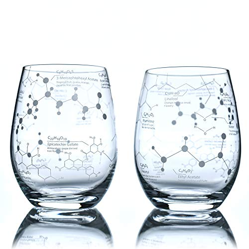 Greenline Goods Stemless Wine Glasses - 15 oz Set – Science of Wine Tumblers (Set of 2) Etched with Wine Chemistry Molecules