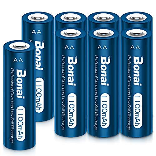 BONAI Lot de 8 Piles AA Rechargeables 1100mAh Batterie AA Rechargeable 1,2V Pile Rechargeable 1200 Cycles Haute capacité pour Lampes solaires