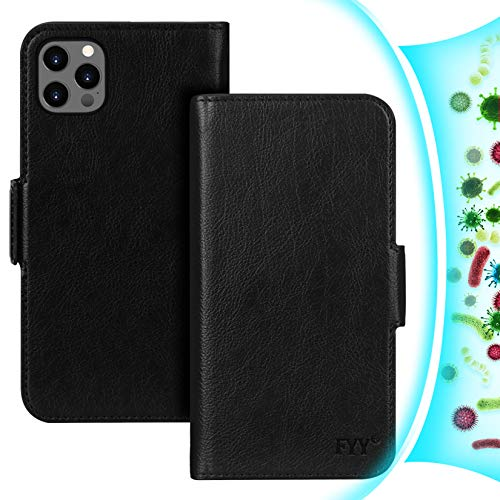 """FYY [Resist Harmful Organism] [RFID Blocking] Case Compatible with iPhone 12 /iPhone 12 Pro 6.1"""", PU Leather Wallet Case with [Kickstand Function] and [Card Holder] for iPhone 12/12 Pro 5G Black"""