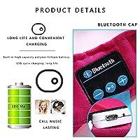 Bluetoothヘッドセットキャップ通気性吸湿性Bluetooth 4.1 + EDR音楽コールステレオ隠しイヤホンケーブル屋外スポーツ帽子,赤