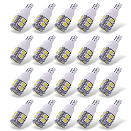 YITAMOTOR White T10 168 194 Wedge LED Bulb, W5W 2825 158 192 175 161 906 Replacement LED Interior Lights Bulb for Trucks Car License Plate Map Dome Trunk Light, 10-SMD, 12v, 20-Pack