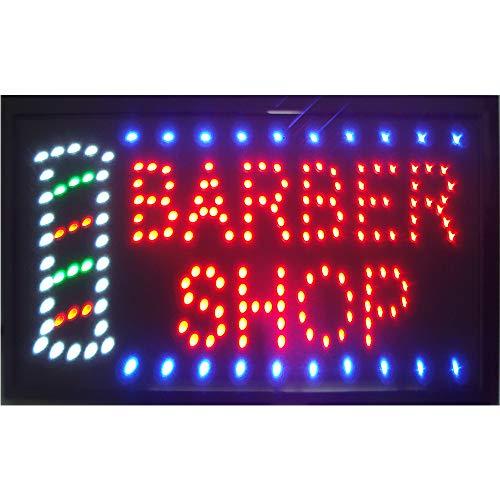 Barber Shop Sign for Business - Led Barber Shop Decor Open Light Sign - Motion Light Sign with US Plug - Great for Barber Shop, Hair Cuts, Hair Extensions Store, Hair Nails Shop (LED Barber Shop Sign)