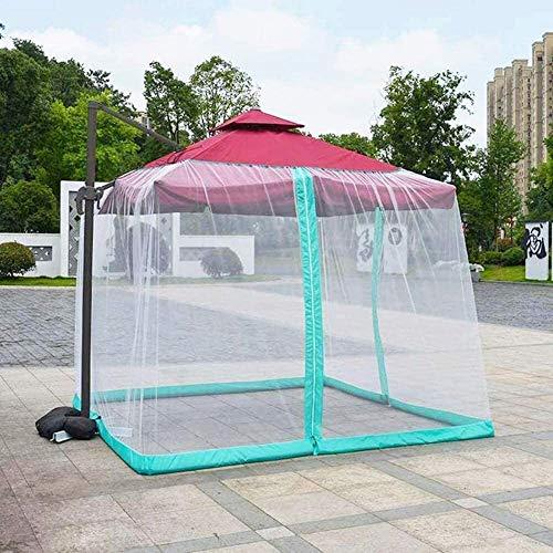 Mosquitera for sombrilla, jardín al aire libre del mosquito cubierta del patio paraguas Mosquitero con cremallera Jardín malla de poliéster pantalla portátil de pantalla paraguas al aire libre Tabla U