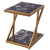 Home&Selected Furniture/Rectangle Marmor Sofa Beistelltisch Nordic Wohnzimmer Iron Art Corner Tisch Couchtisch 2 Tier Lagerregal Nachttisch, Gold, 17.7''x15.7''x19.6 '' (Farbe: Schwarz)