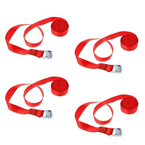 F Fityle 4pcs Set de Correa de Amarre con Hebilla de Leva para Atar Kayak Tabla de Surf en Portaequipaje Remolque - Rojo, 4 Piezas