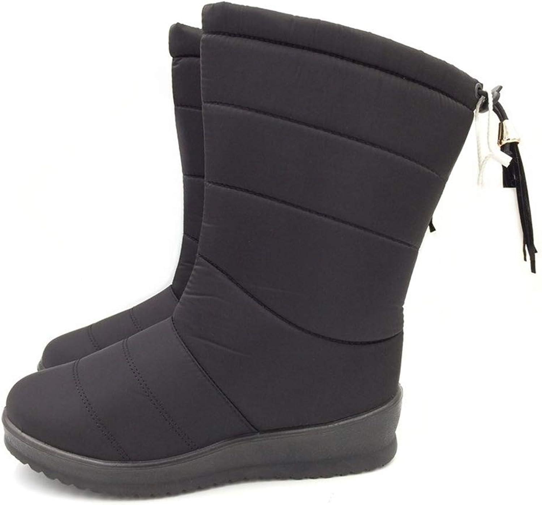 Hoxekle Woman Mid Calf Boots Slip On Round Toe Waterproof Wedge Low Heel Plush Lining Winter Warm Ourdoor Snow Boos