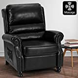 AVAWING Massage Recliner Chair, Arm Chair Push Back Recliner with Rivet Decoration, PU Leather Power Recliner Chair with 6 Point Massage and Heat (Black)
