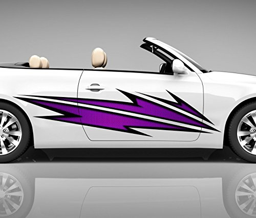 2x Seitendekor 3D Autoaufkleber Blitze lila Digitaldruck Seite Auto Tuning bunt Aufkleber Seitenstreifen Airbrush Racing Autofolie Car Wrapping Tribal Seitentribal CW148, Größe Seiten LxB:ca. 160x40cm