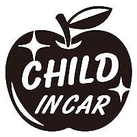 imoninn CHILD in car ステッカー 【シンプル版】 No.63 リンゴ (黒色)