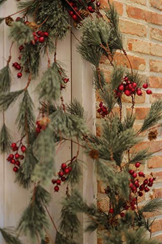 MISSPIN 6 Feet Artificial Christmas Garland Smokey Pine Garland with Pine Cones and Red Berry Garland (Red Berry Garland, 1)