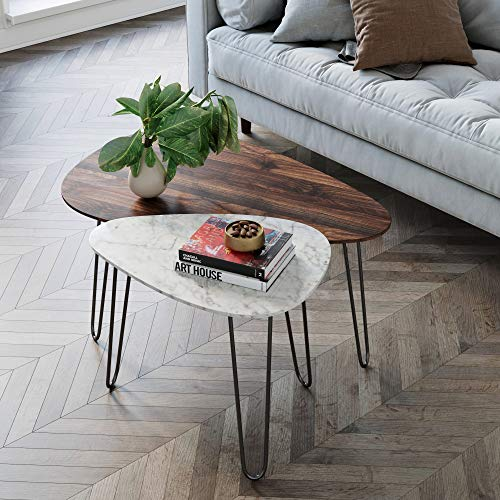 Nathan James Bodhi Mid-Century Nesting Coffee Table Set of 2, Stacking Side or End for Living Room with Faux Carrara Marble, Wood Finish and Black Metal Legs, White/Walnut