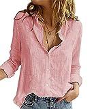 Camisa De Color SóLido para Mujer Camisa De Rebeca Suelta S