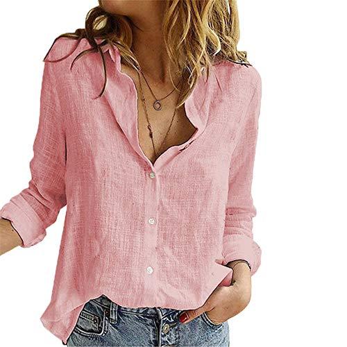 Camisa De Color SóLido para Mujer Camisa De Rebeca Suelta Simple con Solapa Cruzada Mujer