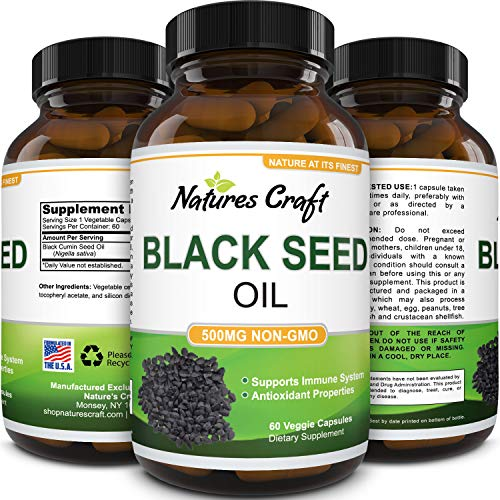Black Cumin Seed Oil Capsules - Nigella Sativa Focus Supplement and Immune System Booster for Digestive Health - Antioxidant Black Seed Oil Capsules and Hair Supplement with Hair Growth Vitamins 500mg