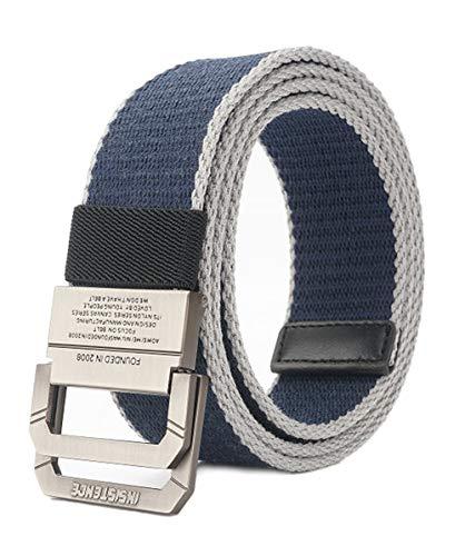 Longwu Cintura tattica casual con fibbia a doppio anello a D in tela militare da uomo Blu