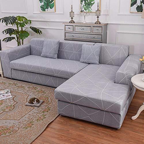 Protector de sofá con correa elástica ajustable,Para sala de estar Funda de sofá geométrica elástica en forma de L Longue Corner-13_3-Seat_and_4-Seat,Fundas de sofá Fundas de tela elástica de poliést
