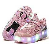 YSTHEZ Chaussures à roulettes LED LED Lumière Up Chaussures de Roue Filles Sneakers USB Charger Roller Patin de Roller pour Enfants Beginners Anniversaire Cadeau,Rose,40