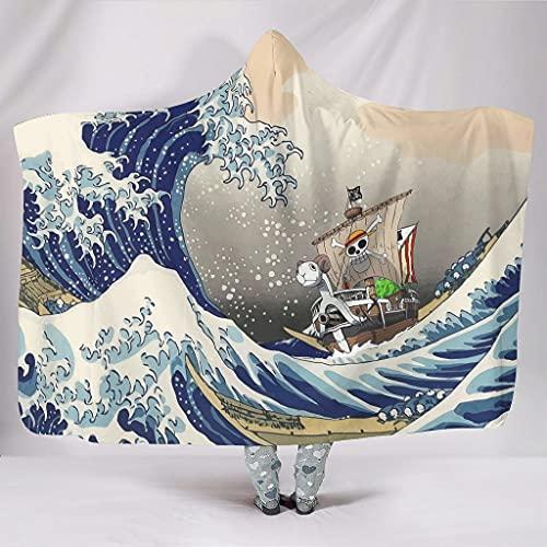 Hothotvery Kapuzendecke Kanagawa Welle Piratenschiff Komfortabel Flauschiger Plüsch Für Die meisten Leute White 130x150cm