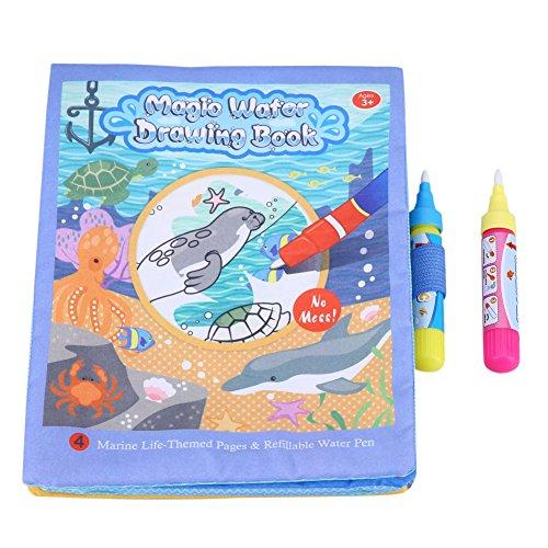 Libro de tela para dibujar al agua para niños, libro de tela para pintar con agua para bebés y bebés, juguete educativo para el aprendizaje temprano del arte, regalo (con bolígrafo)