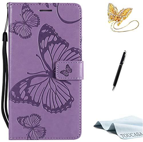 TOUCASA Huawei Honor 6X Handyhülle,Huawei Honor 6X Hülle, Brieftasche flip PU Leder ledercaseHülle Kartenfächer [3D Butterfly] [3D Schmetterling] Embossed Technology fürHuawei Honor 6X-(Lila)