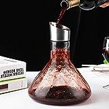 Cooko Wein Dekanter Belüfter, Wein Breather Karaffe mit Ausgießer Deckel, Mundgeblasenem Kristall Dekantierer, Luxus Wein Zubehör für Geschenk (1500ml) - 2