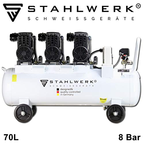 STAHLWERK Druckluft Flüsterkompressor ST 708 pro - 70 L Kessel, 8 Bar, ölfrei, 360 L/Min, sehr leise, sehr kompakt, weiß, 7 Jahre Garantie