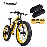 Shengmilo-MX02 26 Pulgadas neumático Gordo Bicicleta eléctrica 1000 W Beach Cruiser Hombres Mujeres Montaña e-Bike Pedal Assist 48V 17AH batería (Amarillo (Dos Pilas), China Motor 1000w)