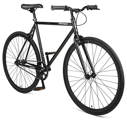 Retrospec Harper Single-Speed Fixed Gear Urban Commuter Bike, 53cm, m, Matte Black
