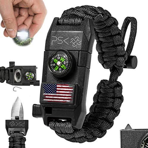 PSK Paracord Bracelet 8-in-1 Personal Survival Gear Kit - Urban & Outdoors Survival Bracelet , Fire Starter, Glass Breaker, Survival Whistle, Signal Mirror, Fishing Hook, Compass