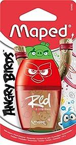 Maped Taille-crayons Angry Birds 1 Trou avec Réservoir pour Crayons à Papier et de Couleur Standard Translucide Rouge